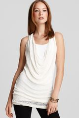 Donna Karan New York Tunic Sleeveless Ribbon Draped Cowl - Lyst
