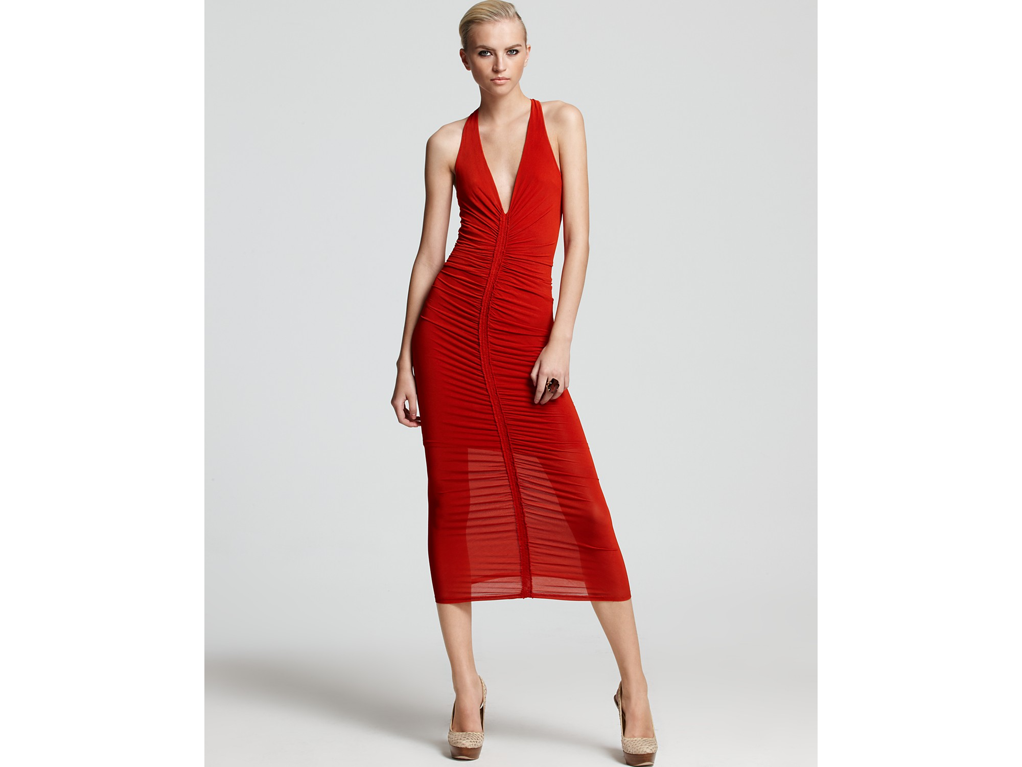 Donna karan Dress Center Front Ruched Maxi in Red | Lyst