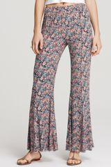 Free People Pants Printed Wide Leg Pullons - Lyst
