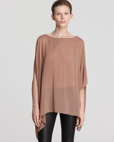 Helmut Lang Top Boat Neck Gather in Brown (lurk) - Lyst