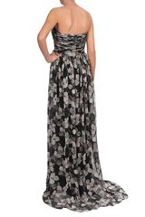 Jason Wu Floral Printed Silk Chiffon Bustier Gown in Black (black grey) - Lyst