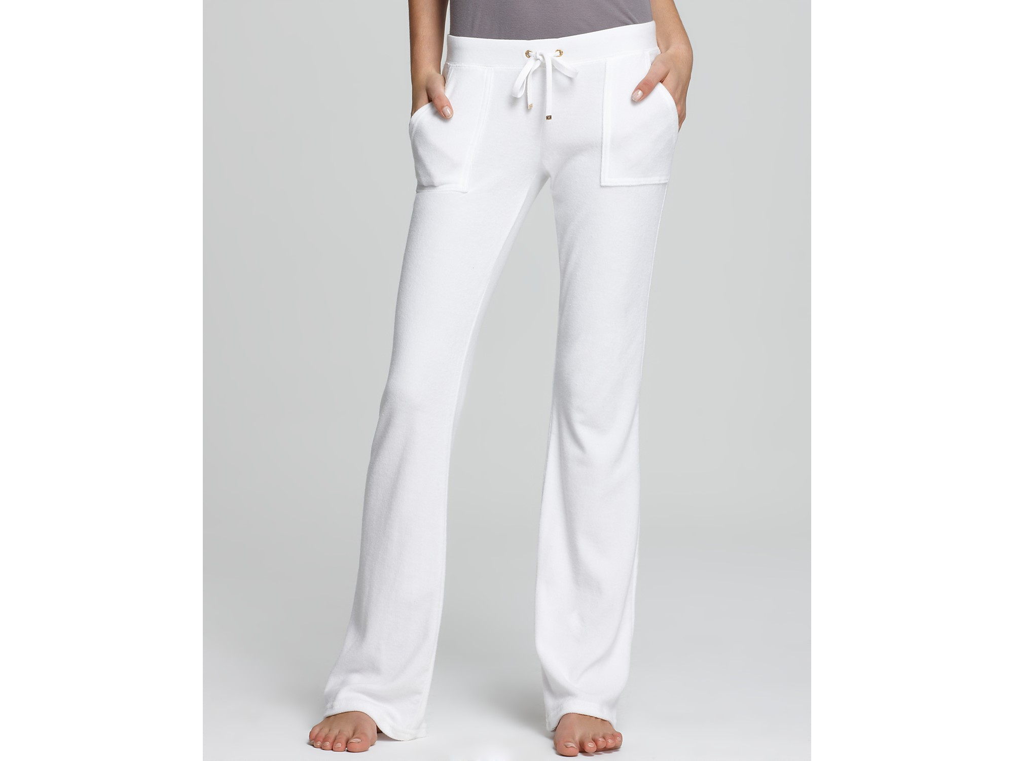 Juicy couture Terry Flare Leg Pants in White | Lyst