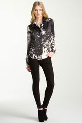 Roberto Cavalli Appaloosa Print Satin Shirt in Black - Lyst