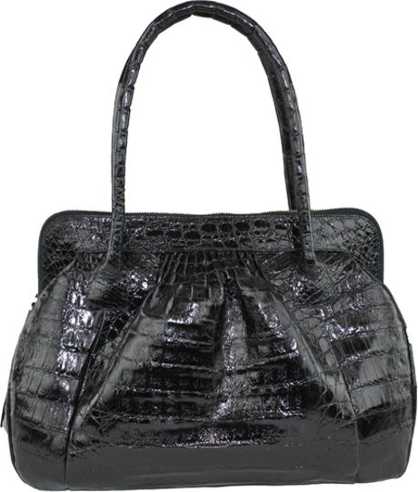 Nancy Gonzalez Black Double Handle Croc Handbag in Black