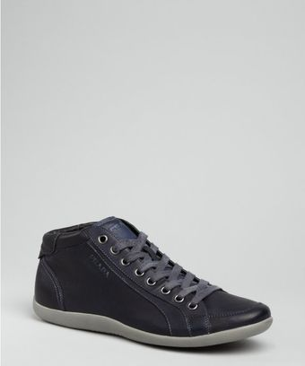 Prada Prada Sport Navy Leather Laceup Sneakers - Lyst