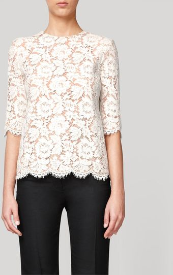 Stella McCartney Long Sleeve Lace Top with Scalloped Edges - Lyst