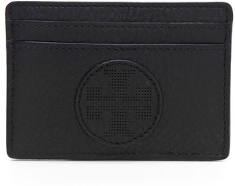 Tory Burch Kipp Slim Card Case in Black - Lyst