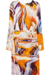 Vera Wang Printed Stretch Silkblend Dress - Lyst