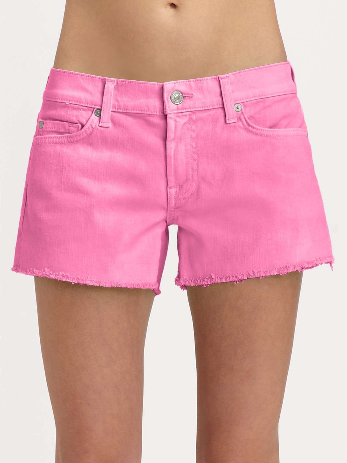 7 for all mankind Shorts Neon Cutoff Denim Shorts in Pink | Lyst