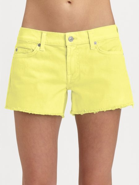 7 For All Mankind Carlie Cutoff Denim Shorts in Yellow - Lyst