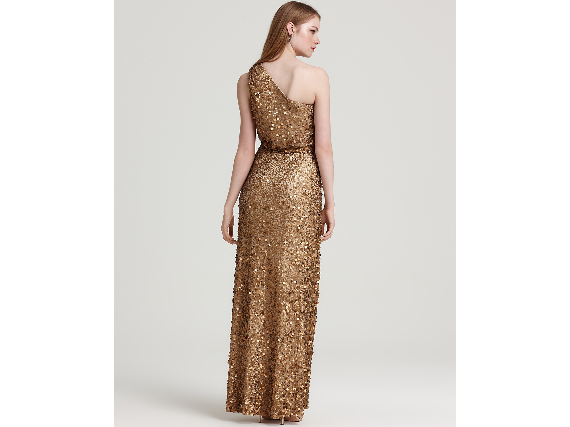 Aidan mattox Sequin Dress One Shoulder in Metallic | Lyst