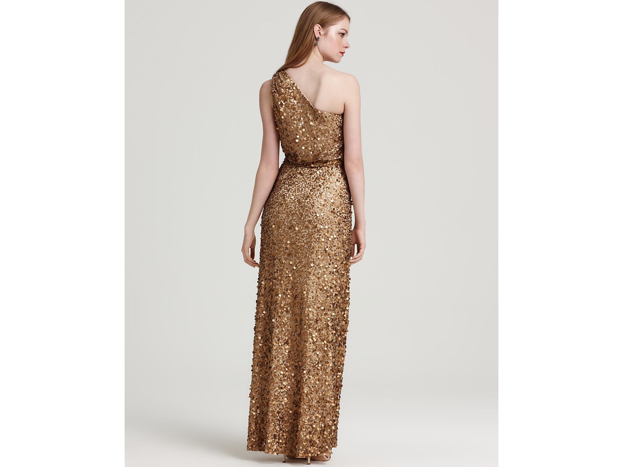 Aidan mattox Sequin Dress One Shoulder in Metallic | Lyst