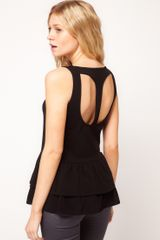 ASOS Collection Asos Vest with Peplum and Cut Out Back Detail - Lyst