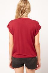 Asos Collection Asos Tshirt in Loop Back with Gathered Hem in Red (burntredorange) - Lyst