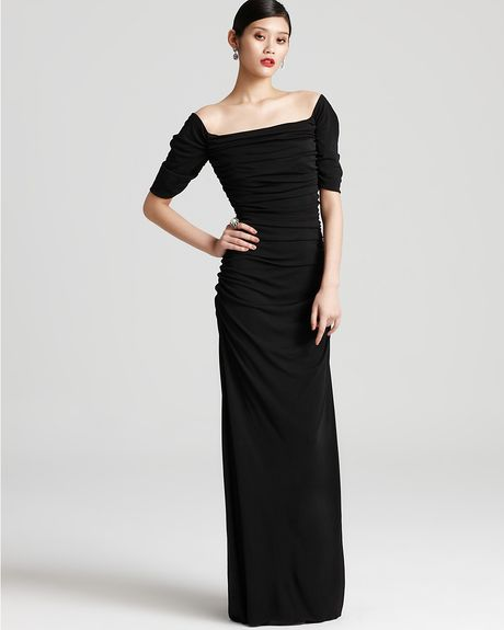 Badgley Mischka Gown Off Shoulder Gown in Black - Lyst