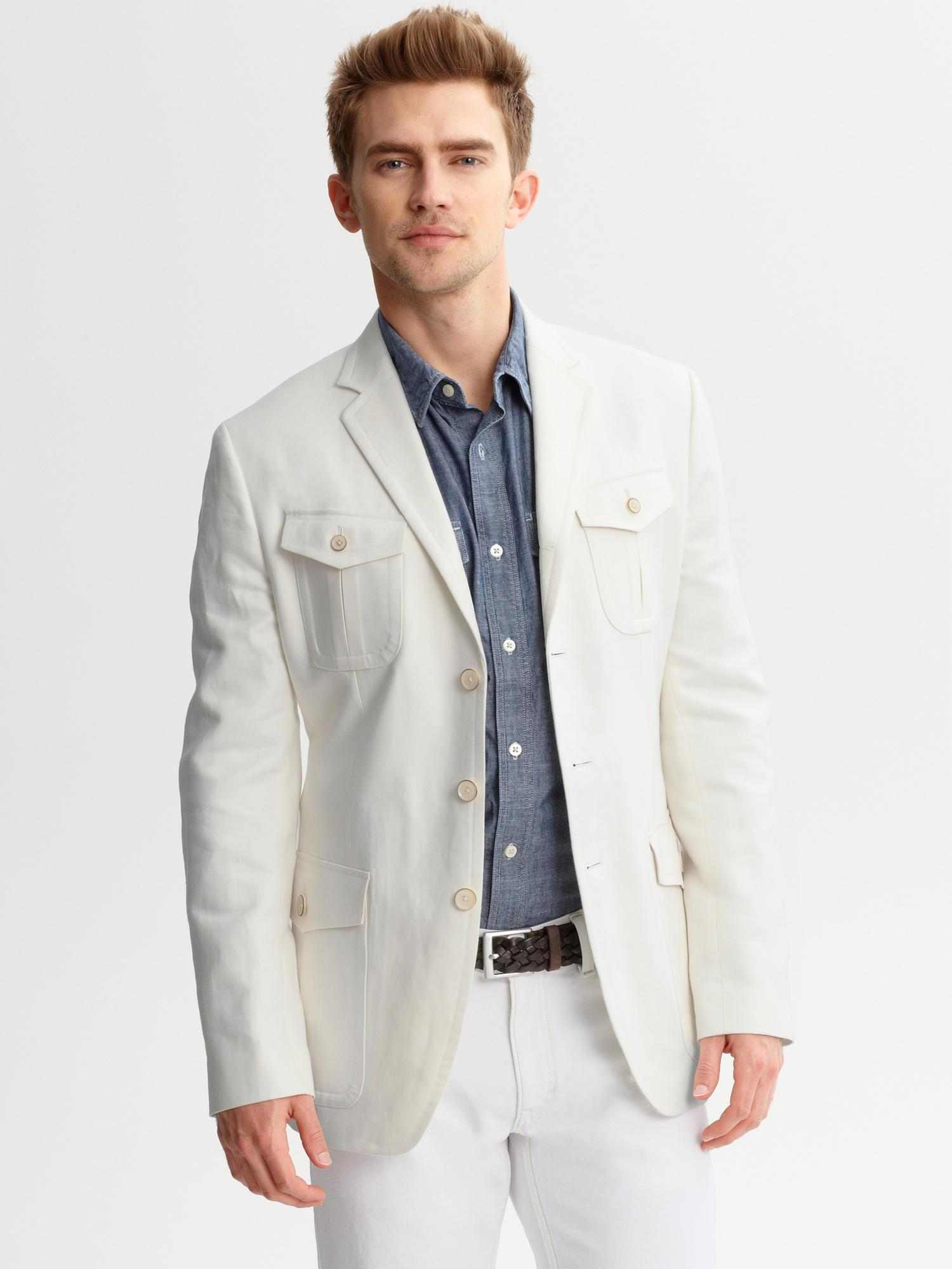 Lyst Banana Republic Heritage Tailored Fit Safari Blazer In White