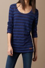Burberry Striped Jersey Top in Blue (sapphire blue) - Lyst