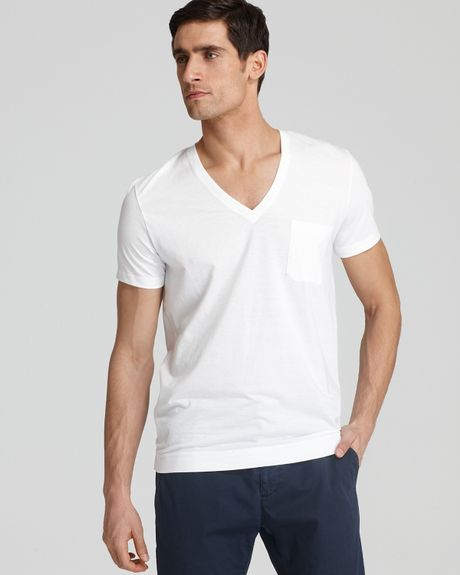 Calvin Klein V Neck Undershirt Tee in White for Men - Lyst