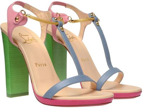Christian Louboutin Sylvieta Pastel Leather and Snake Chain Sandals in Multicolor (multi)