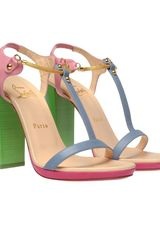 Christian Louboutin Sylvieta Pastel Leather and Snake Chain Sandals in Multicolor (multi) - Lyst