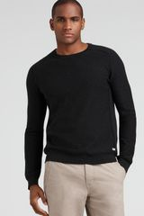 Converse Black Canvas Saddle Shoulder Sweater - Lyst