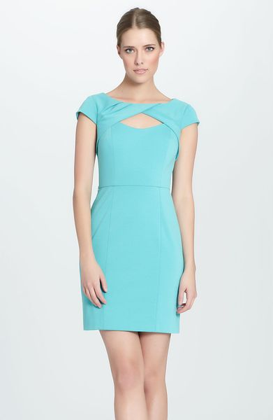 Cynthia Steffe Parker Cutout Ponte Knit Sheath Dress in Blue (aquamarine) - Lyst