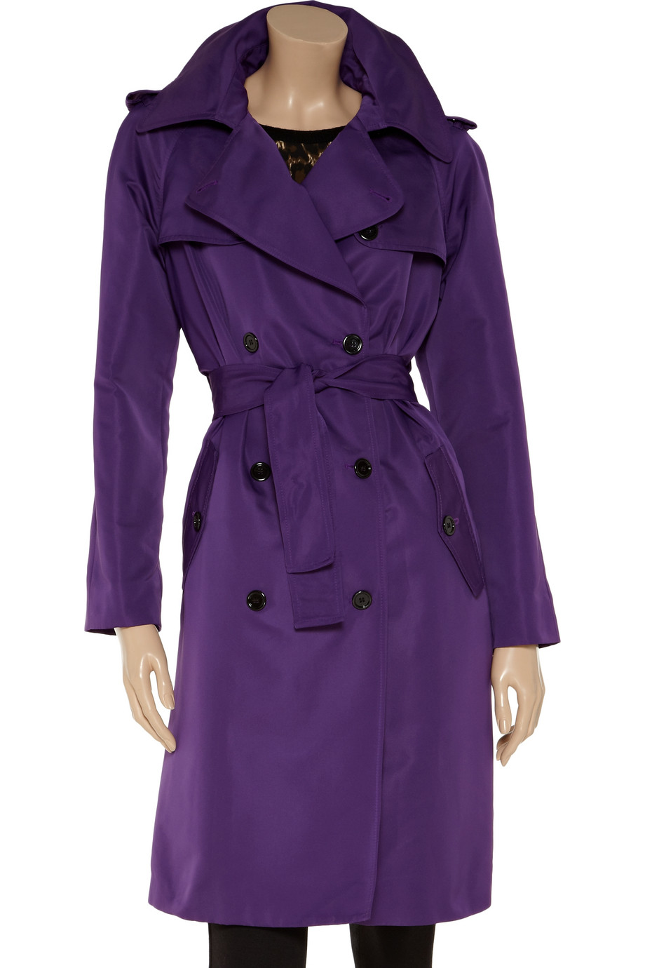 Dolce Amp Gabbana Double Beasted Sateen Trench Coat In