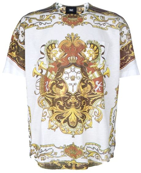 D&g Printed Tshirt in White for Men - Lyst