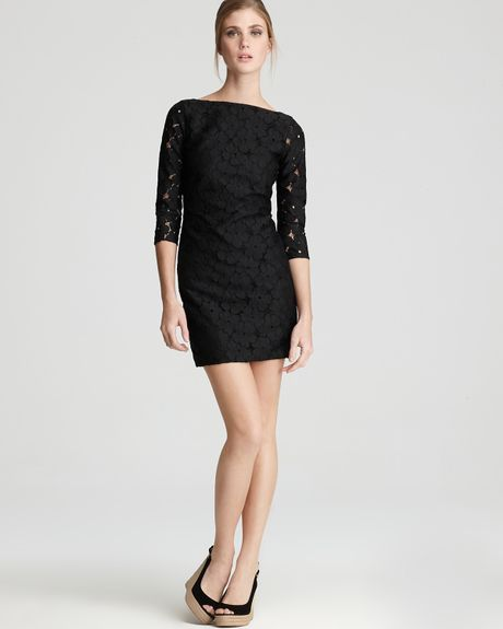 Diane Von Furstenberg Dress Sarita Flower Lace in Black - Lyst