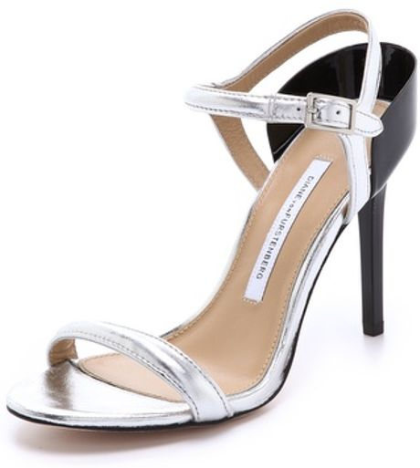 Diane Von Furstenberg Rehani High Heel Sandals In Silver