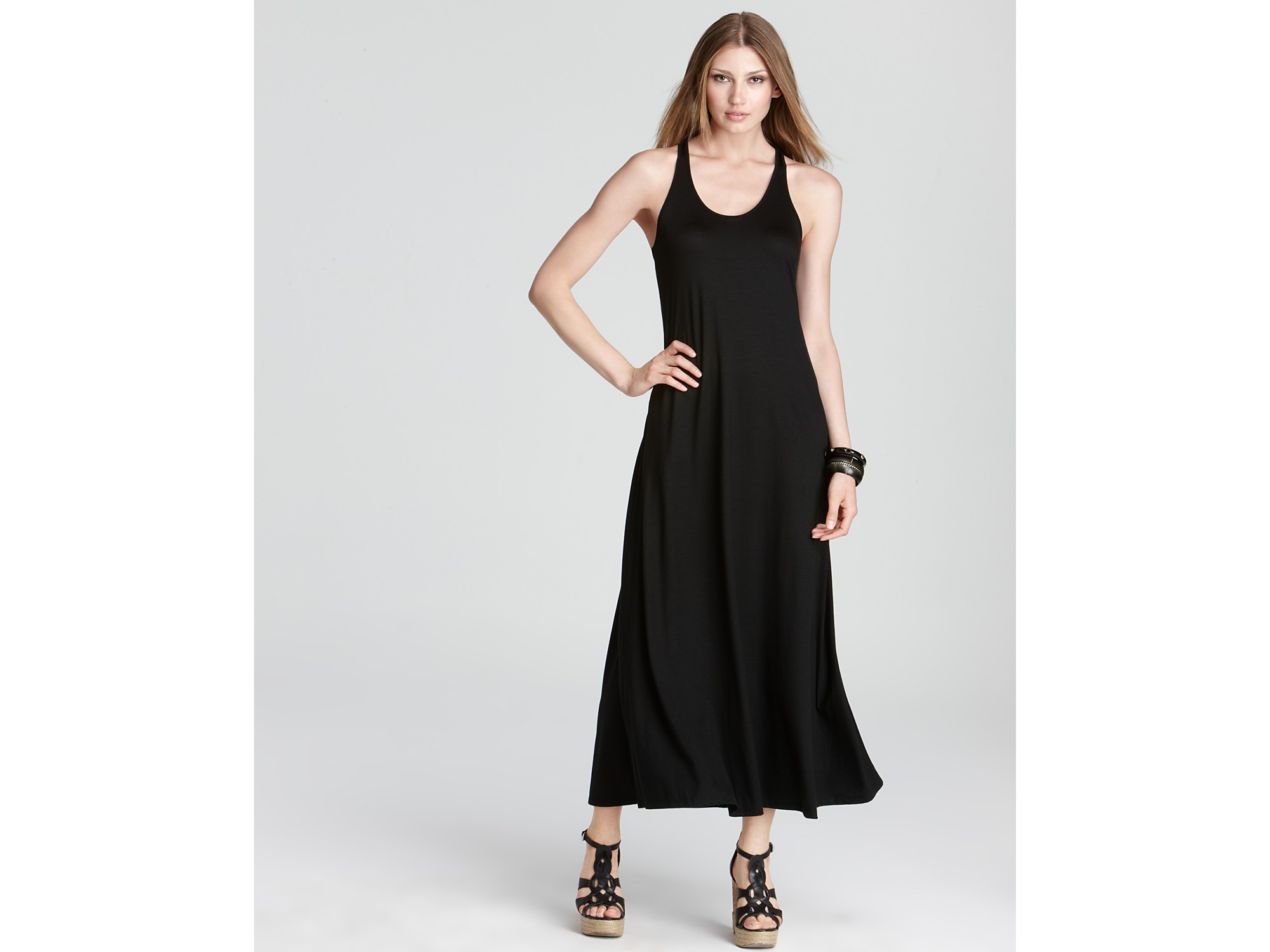 Lyst Dkny Knotted Racerback Tank Maxi Dress In Black
