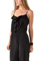 Dkny V Neck Ruffle Jumpsuit in Black - Lyst