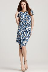 DKNY Floral Printed Cap Sleeve Dress with Gathered Front - Lyst