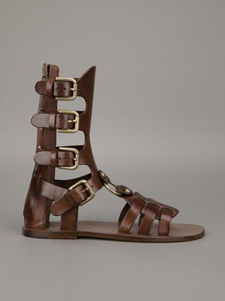Dolce Amp Gabbana Gladiator Sandal In Brown Lyst