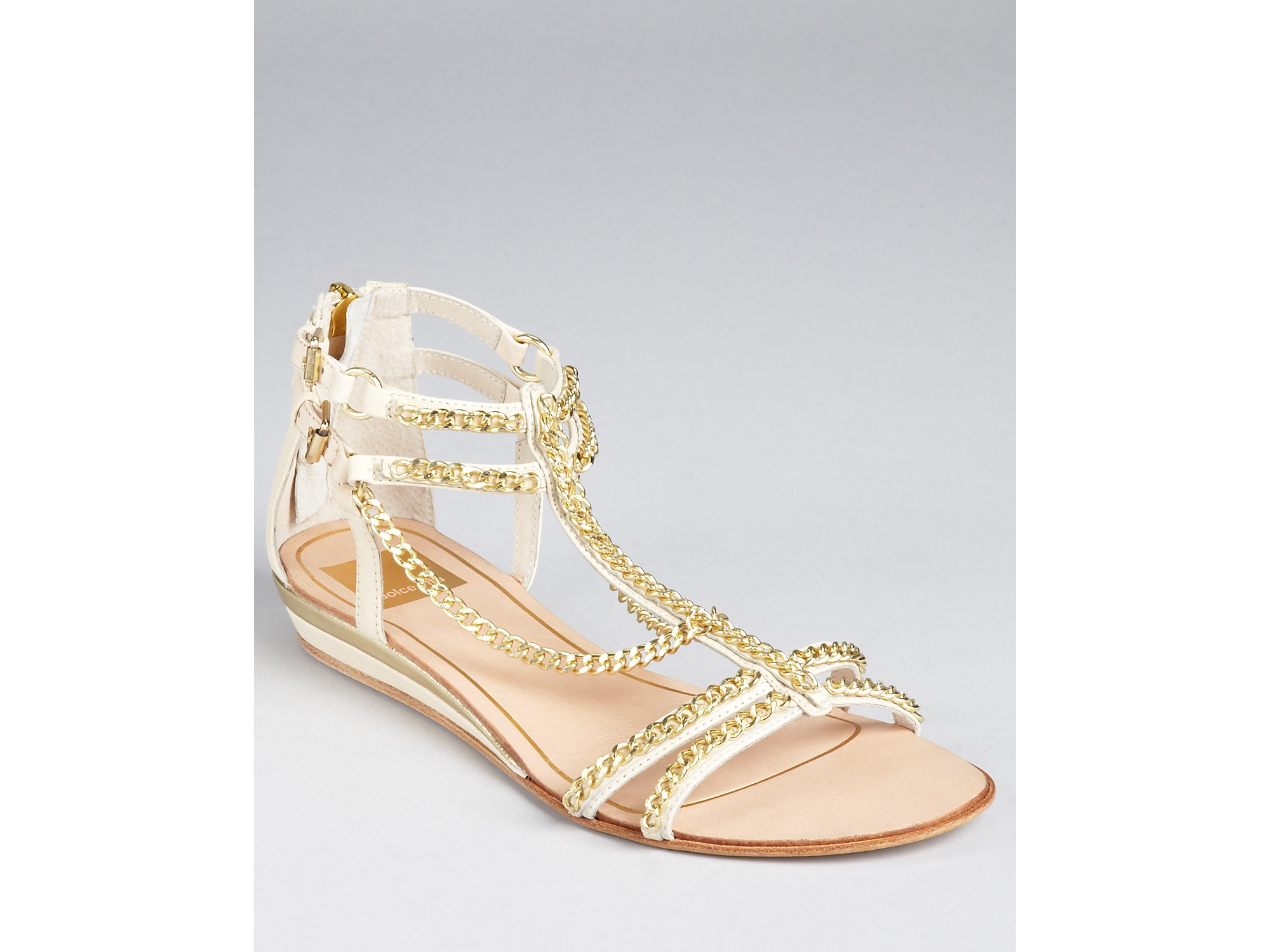 dolce vita sandals idra chain flat in black lyst