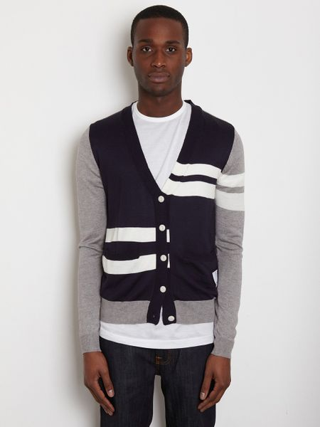 General Idea General Idea Mens Contrast Cardigan in Blue for Men
