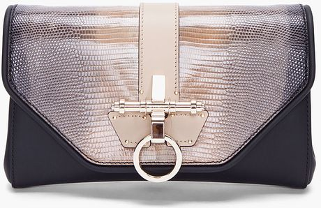 Givenchy Lizard Skin Obsedia Clutch in Brown (taupe)