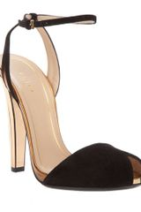 Gucci Peep Toe Sandal in Black - Lyst
