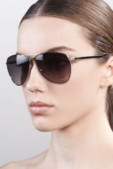 Gucci Metal Aviator Sunglasses - Lyst