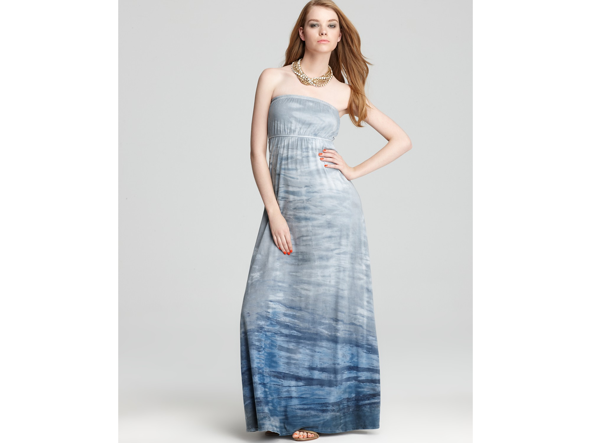 Hard tail Dress Printed Strapless Maxi Dress in Blue | Lyst