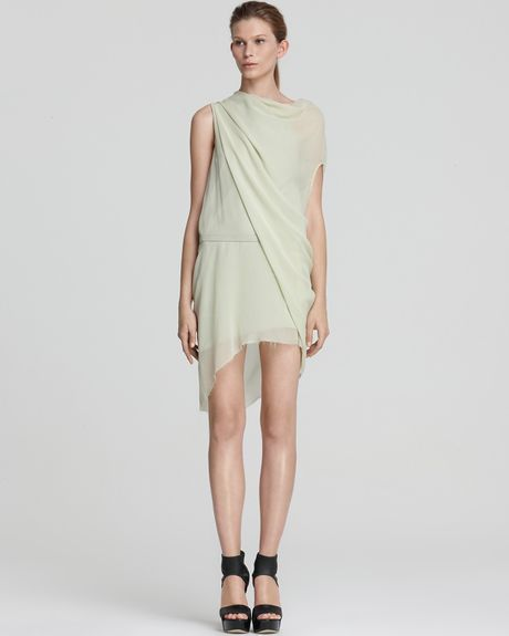 Helmut Lang Dress Belted Silk with Drape Sleeve in White (chlorella) - Lyst