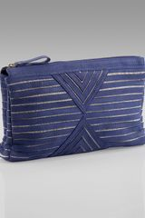 House Of Harlow Riley Leather Oversized Clutch in Blue (cobalt) - Lyst
