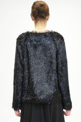 Jil Sander Fringe Lurex Jersey Sweater in Black - Lyst