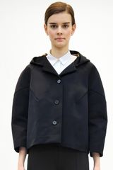 Jil Sander Cropped Hooded Jacket in Blue - Lyst