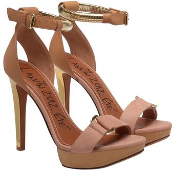 Lanvin Leather and Wooden Platform Heels - Lyst