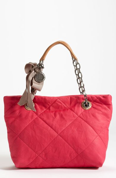 Lanvin Amalia Small Leather Tote in Red (fuchsia) - Lyst