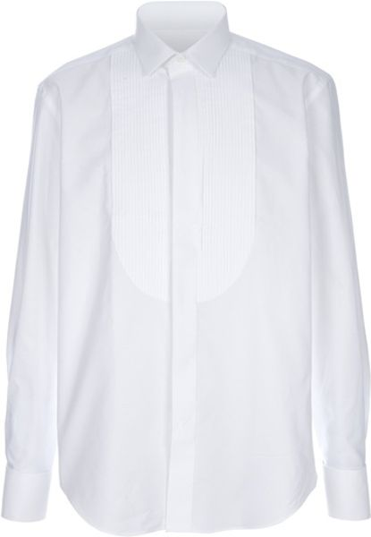 Lanvin Pleated Bib Shirt in White for Men - Lyst