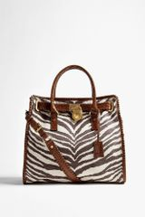 Michael by Michael Kors Zebra Printed Canvas Hamilton Whipped Large North South Tote