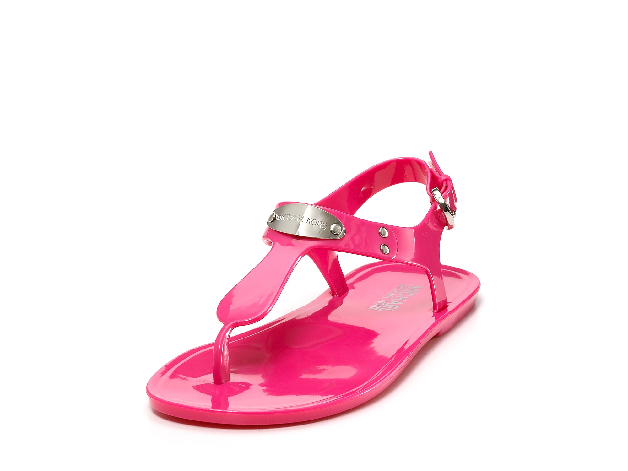 michael kors michael sandals mk plate jelly in pink