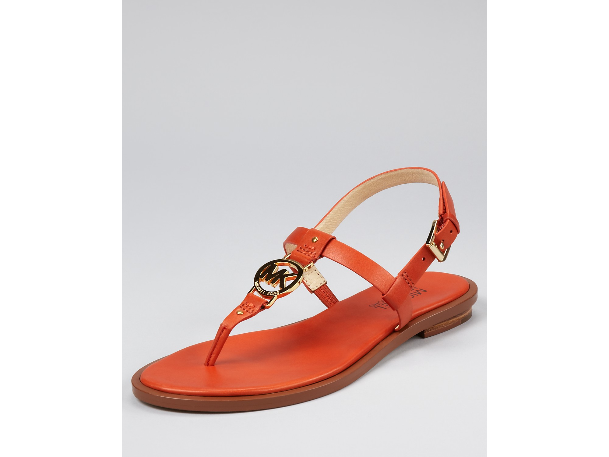 7dcb67df4628 Lyst - Michael Kors Sondra Flat Sandals in Orange